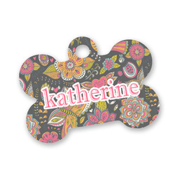 Birds & Butterflies Bone Shaped Dog Tag (Personalized)