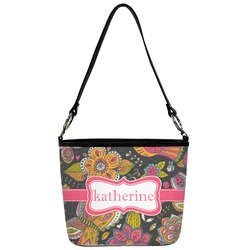 Birds & Butterflies Bucket Bag w/ Genuine Leather Trim (Personalized)
