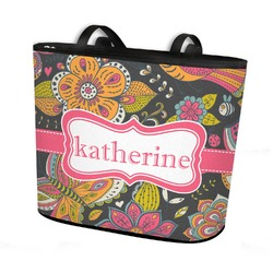 Birds & Butterflies Bucket Tote w/ Genuine Leather Trim (Personalized)
