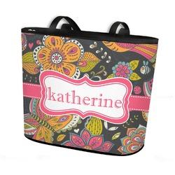 Birds & Butterflies Bucket Tote w/ Genuine Leather Trim (Personalized)