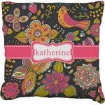 Birds & Butterflies Faux-Linen Throw Pillow (Personalized)