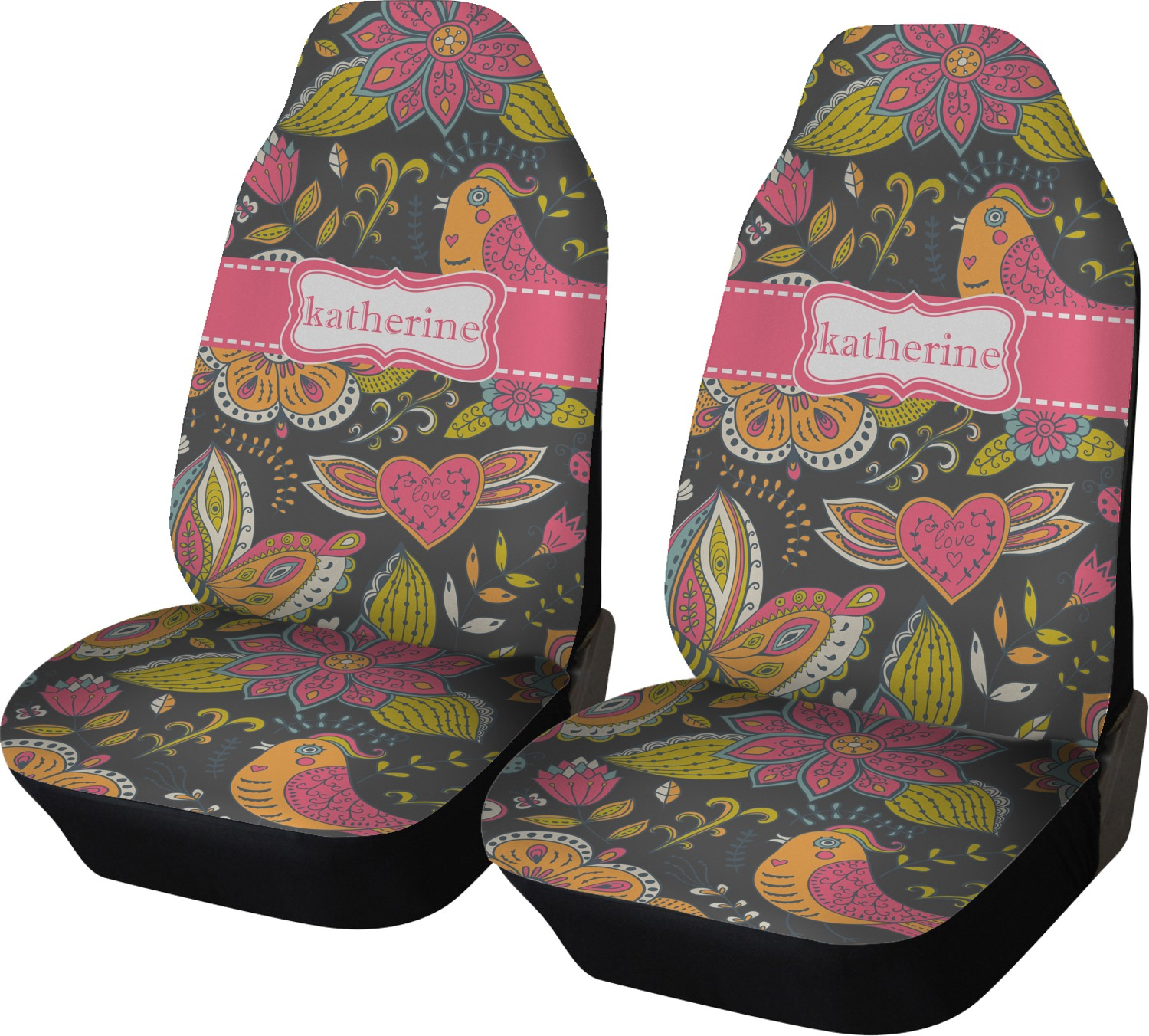 Birds Butterflies Car Seat Covers Set Of Two Personalized