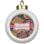 Birds & Butterflies Ceramic Ball Ornament (Personalized)