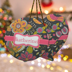 Birds & Butterflies Ceramic Ornament w/ Name or Text