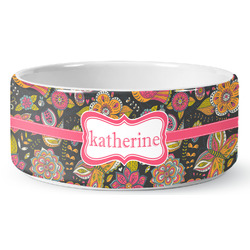Birds & Butterflies Ceramic Dog Bowl (Personalized)