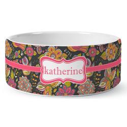 Birds & Butterflies Ceramic Dog Bowl (Personalized)