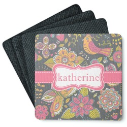 Birds & Butterflies 4 Square Coasters - Rubber Backed (Personalized)