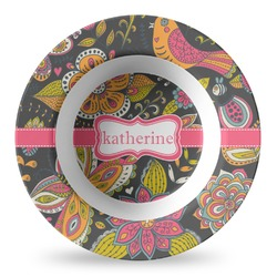 Birds & Butterflies Plastic Bowl - Microwave Safe - Composite Polymer (Personalized)