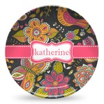 Birds & Butterflies Microwave Safe Plastic Plate - Composite Polymer (Personalized)