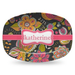 Birds & Butterflies Plastic Platter - Microwave & Oven Safe Composite Polymer (Personalized)