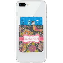 Birds & Butterflies Genuine Leather Adhesive Phone Wallet (Personalized)