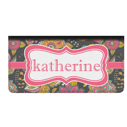 Birds & Butterflies Genuine Leather Checkbook Cover (Personalized)