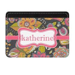 Birds & Butterflies Genuine Leather Front Pocket Wallet (Personalized)