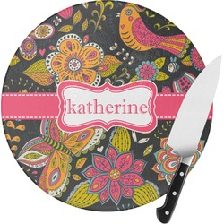 Birds & Butterflies Round Glass Cutting Board (Personalized)