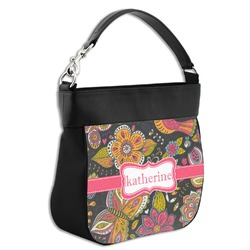 Birds & Butterflies Hobo Purse w/ Genuine Leather Trim (Personalized)