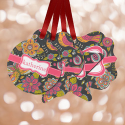 Birds & Butterflies Metal Ornaments - Double Sided w/ Name or Text