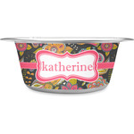 Birds & Butterflies Stainless Steel Dog Bowl (Personalized)