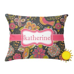 Birds & Butterflies Outdoor Throw Pillow (Rectangular) (Personalized)