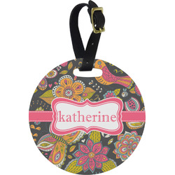 Birds & Butterflies Round Luggage Tag (Personalized)