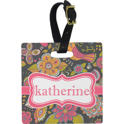 Birds & Butterflies Square Luggage Tag (Personalized)