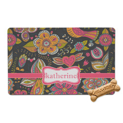 Birds & Butterflies Pet Bowl Mat (Personalized)