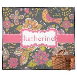 Birds & Butterflies Outdoor Picnic Blanket (Personalized)