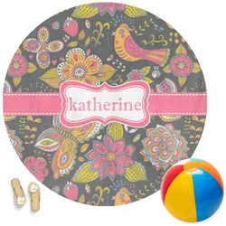 Birds & Butterflies Round Beach Towel (Personalized)