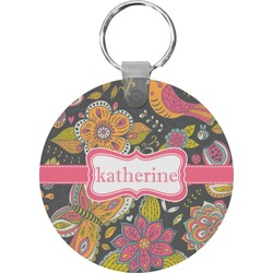 Birds & Butterflies Round Keychain (Personalized)