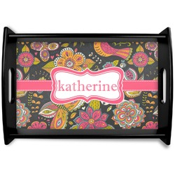 Birds & Butterflies Black Wooden Tray (Personalized)