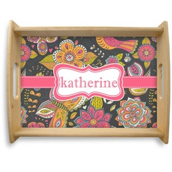 Birds & Butterflies Natural Wooden Tray - Large (Personalized)
