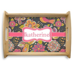 Birds & Butterflies Natural Wooden Tray (Personalized)