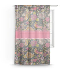 "Birds & Butterflies Sheer Curtain - 50""x84"" (Personalized)"