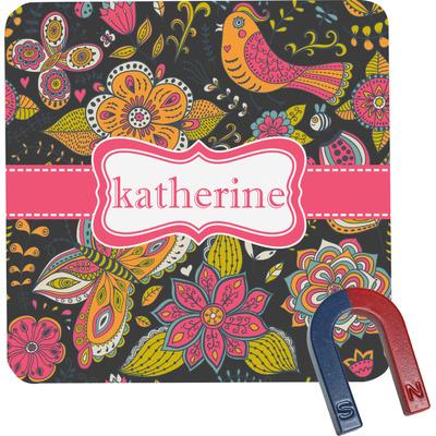 Birds & Butterflies Square Fridge Magnet (Personalized)