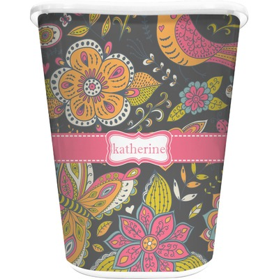 Birds & Butterflies Waste Basket - Double Sided (White) (Personalized)