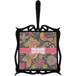 Birds & Butterflies Trivet with Handle (Personalized)