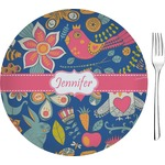 "Owl & Hedgehog Glass Appetizer / Dessert Plates 8"" - Single or Set (Personalized)"