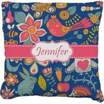 Owl & Hedgehog Faux-Linen Throw Pillow (Personalized)