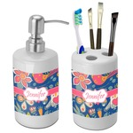 Owl & Hedgehog Bathroom Accessories Set (Ceramic) (Personalized)