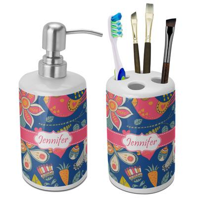 Owl & Hedgehog Ceramic Bathroom Accessories Set (Personalized)