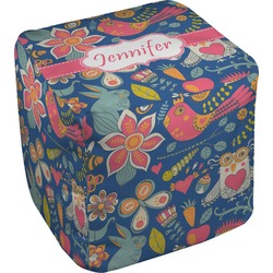 Owl & Hedgehog Cube Pouf Ottoman (Personalized)