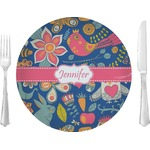 """Owl & Hedgehog Glass Lunch / Dinner Plates 10"""" - Single or Set (Personalized)"""