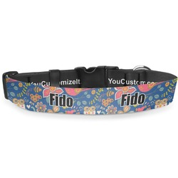 """Owl & Hedgehog Deluxe Dog Collar - Extra Large (16"""" to 27"""") (Personalized)"""