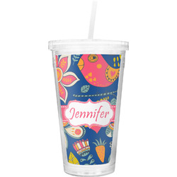 Owl & Hedgehog Double Wall Tumbler with Straw (Personalized)
