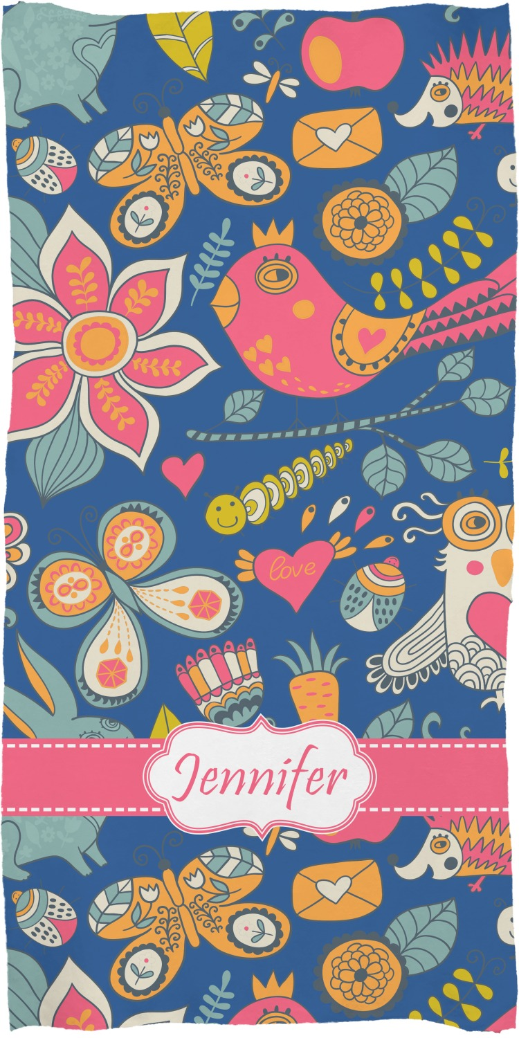 Owl & Hedgehog Full Print Bath Towel (Personalized) - YouCustomizeIt