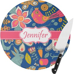Owl & Hedgehog Round Glass Cutting Board (Personalized)