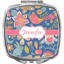 Owl & Hedgehog Compact Makeup Mirror (Personalized)