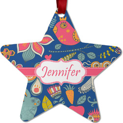 Owl & Hedgehog Metal Star Ornament - Double Sided w/ Name or Text