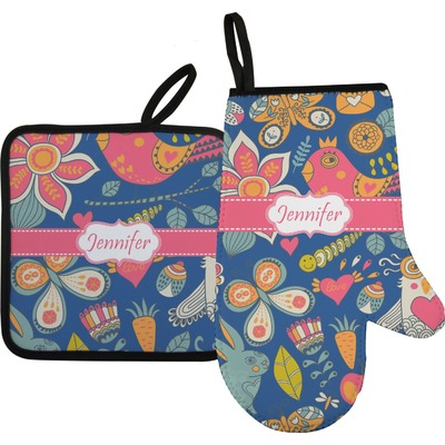 Owl & Hedgehog Right Oven Mitt & Pot Holder Set w/ Name or Text