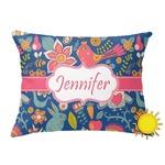 Owl & Hedgehog Outdoor Throw Pillow (Rectangular) (Personalized)