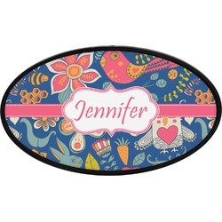 Owl & Hedgehog Oval Trailer Hitch Cover (Personalized)